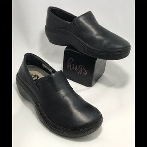 TIMBERLAND WOMENS BLACK LEATHER SLIP ON CLOGS 7.5